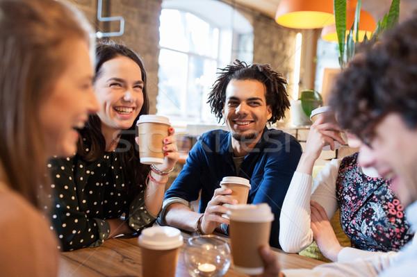 Сток-фото: счастливым · друзей · питьевой · кофе · ресторан · отдыха