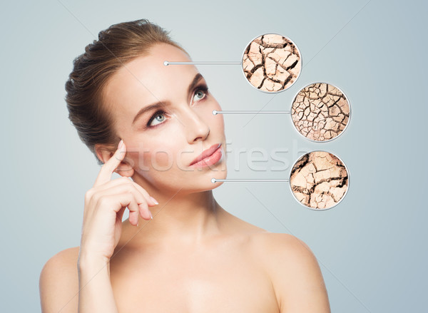Stock photo: face of beautiful woman with damaged skin samples