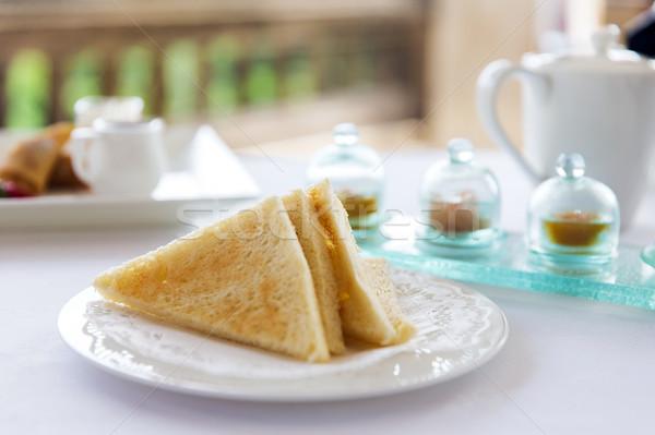 Plaque Toast pain table alimentaire déjeuner Photo stock © dolgachov