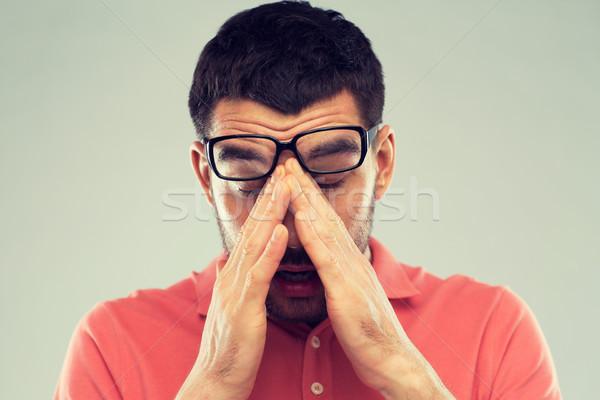 устал человека очки глазах люди зрение Сток-фото © dolgachov