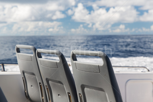 seats on deck of passenger ship sailing in sea Stock photo © dolgachov