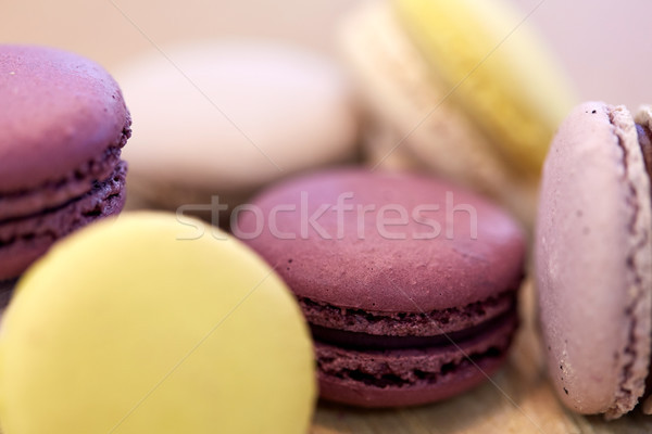 close up of macarons Stock photo © dolgachov