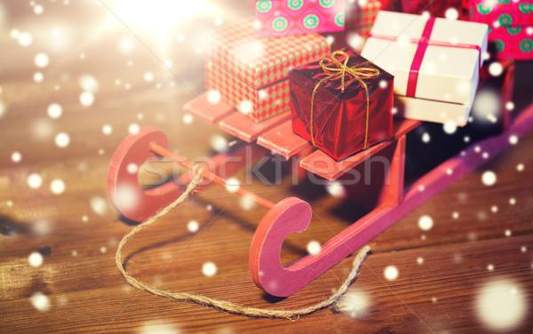 Natale legno slitta vacanze Foto d'archivio © dolgachov