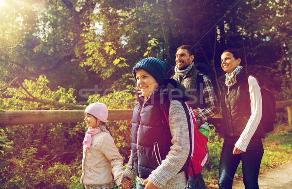 счастливая семья походов лесу поход путешествия туризма Сток-фото © dolgachov