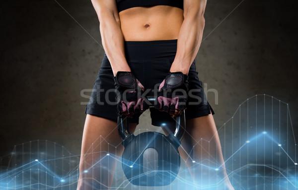 Nő kettlebell tornaterem fitnessz sport testmozgás Stock fotó © dolgachov