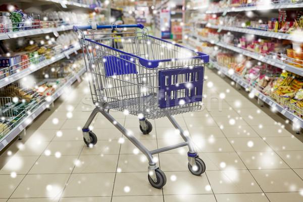 empty shopping cart or trolley at supermarket Stock photo © dolgachov