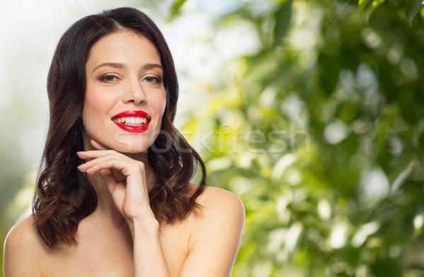 Belo sorridente mulher jovem batom vermelho beleza orgânico Foto stock © dolgachov