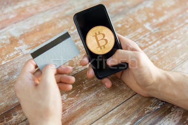 Foto stock: Bitcoin · cartão · de · crédito · negócio · tecnologia