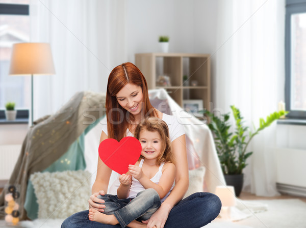 happy mother with adorable little girl and heart Stock photo © dolgachov