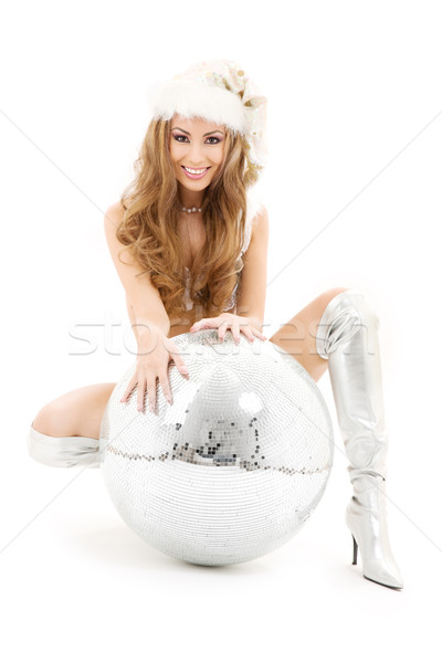 sexy santa helper with big disco ball Stock photo © dolgachov