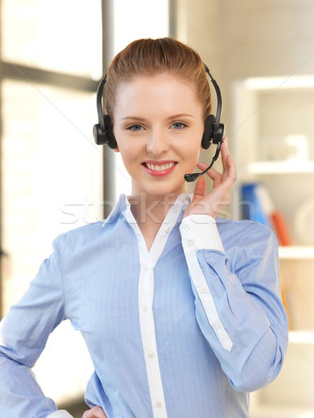 Amistoso femenino línea de ayuda operador brillante Foto Foto stock © dolgachov