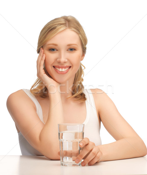 Stock photo: woman with glass of water