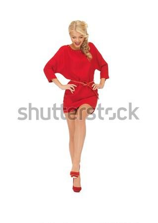 Tánc nő vörös ruha kép divat piros Stock fotó © dolgachov