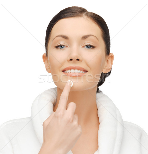 Kadın bornoz resim krem mutlu Stok fotoğraf © dolgachov