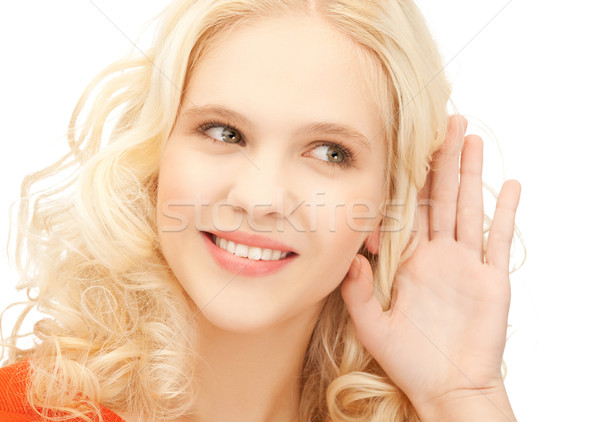 Menina escuta rumores brilhante quadro sorridente Foto stock © dolgachov