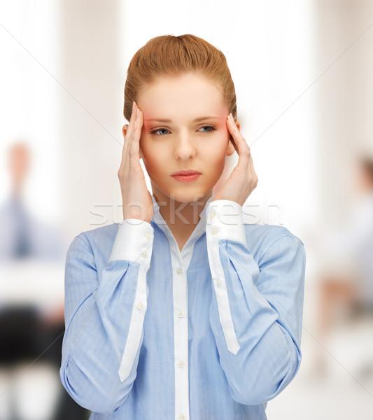Hangsúlyos nő tart fej kezek munka Stock fotó © dolgachov