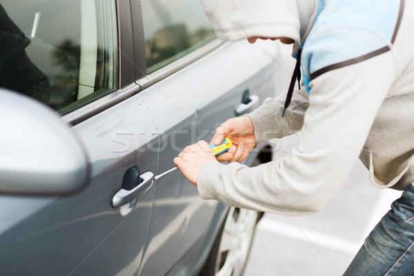 Tolvaj autó zár közlekedés bűnözés tulajdonjog Stock fotó © dolgachov