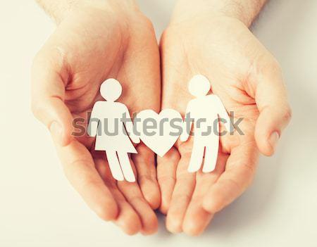 Homem mãos papel homens amor romance Foto stock © dolgachov