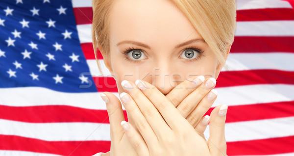 Mulher mãos boca EUA política conspiração Foto stock © dolgachov