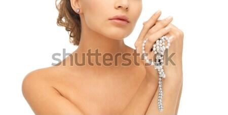 Femeie diamant colier nuntă Imagine de stoc © dolgachov