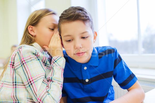 Sorridente aluna colega ouvido educação Foto stock © dolgachov