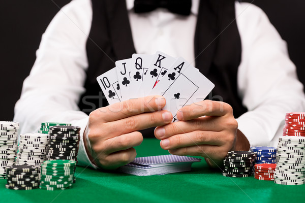 Poker joueur cartes puces casino jeux Photo stock © dolgachov