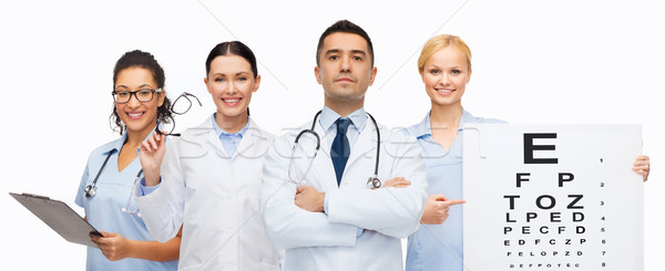group of doctors with eye chart and glasses Stock photo © dolgachov