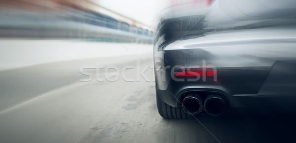 close up of car riding on highway from back Stock photo © dolgachov