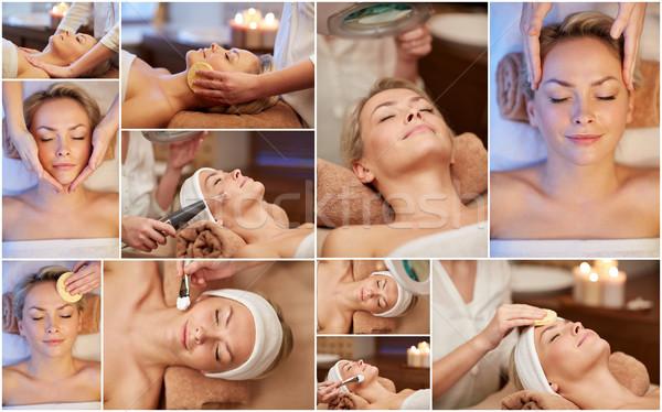 Foto stock: Mulher · massagem · estância · termal · salão · beleza