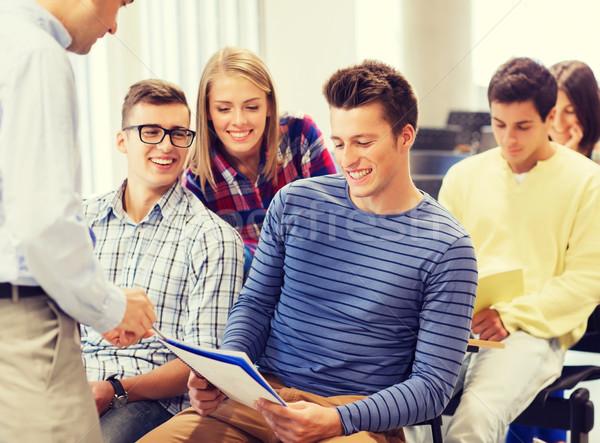 Csoport diákok tanár notebook oktatás középiskola Stock fotó © dolgachov