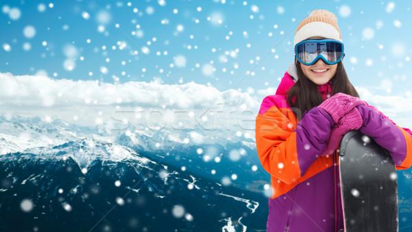 Gelukkig jonge vrouw snowboard bergen winter recreatie Stockfoto © dolgachov