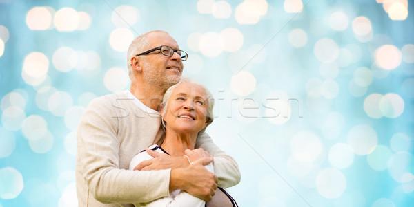 Gelukkig Blauw vakantie lichten familie Stockfoto © dolgachov