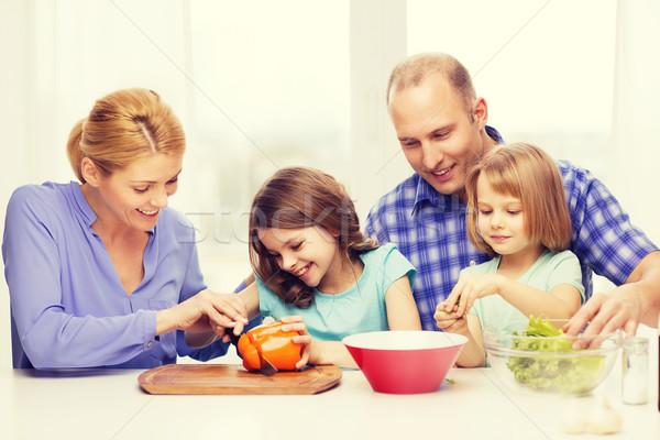 Mutlu aile iki çocuklar akşam yemeği ev Stok fotoğraf © dolgachov