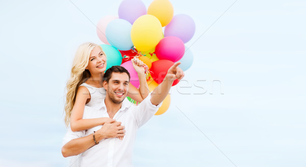 çift renkli balonlar deniz yan yaz Stok fotoğraf © dolgachov