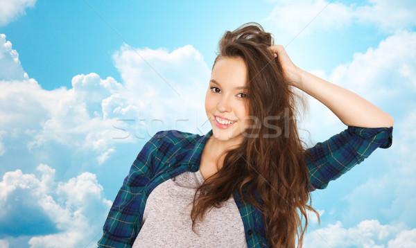 happy smiling pretty teenage girl Stock photo © dolgachov