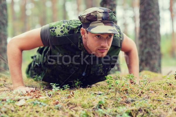 молодые солдата лес войны армии Сток-фото © dolgachov