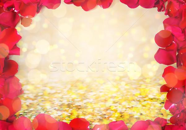 Rood rose bloemblaadjes frame liefde romantiek Stockfoto © dolgachov