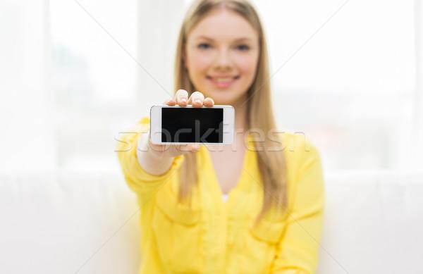 Photo stock: Femme · smartphone · écran · personnes