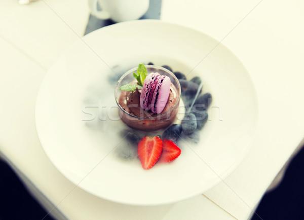 close up of chocolate dessert at restaurant Stock photo © dolgachov
