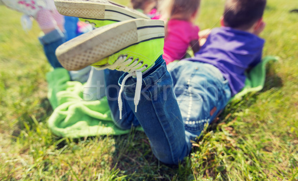Kinderen picknickdeken buitenshuis zomer jeugd Stockfoto © dolgachov