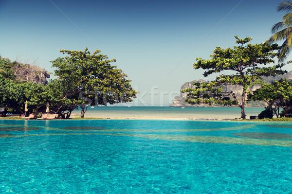 swimming pool at thailand touristic resort beach Stock photo © dolgachov