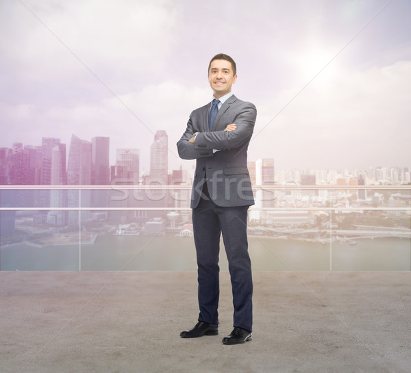 Boldog mosolyog üzletember Szingapúr város üzletemberek Stock fotó © dolgachov