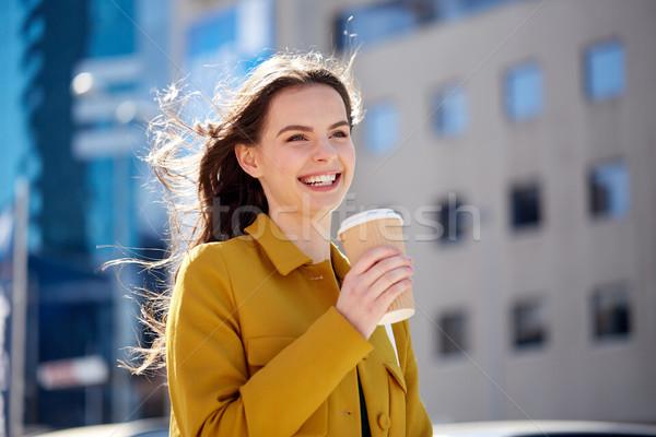 Stock fotó: Boldog · fiatal · nő · iszik · kávé · figyelmeztetés · italok