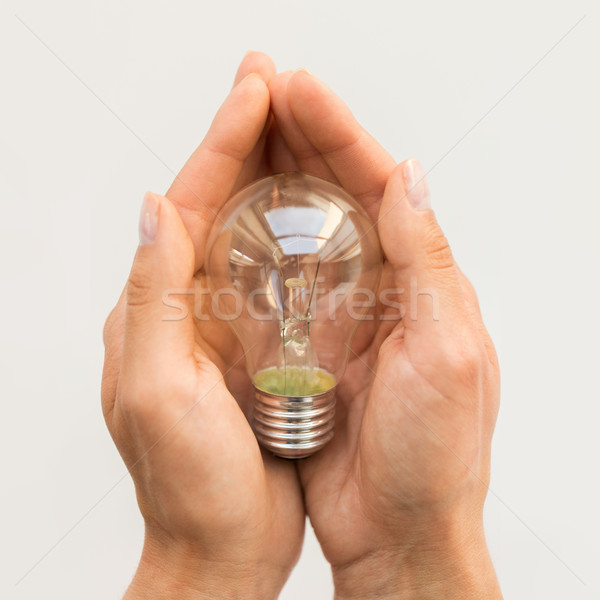 close up of hands holding edison lamp or lightbulb Stock photo © dolgachov