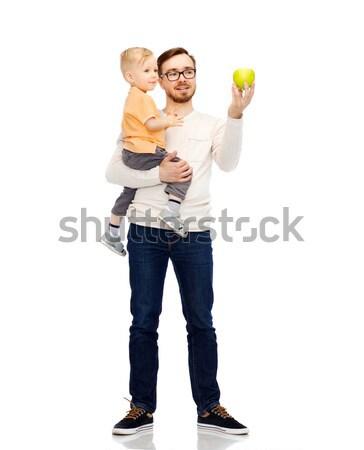 Feliz padre pequeño hijo verde manzana Foto stock © dolgachov