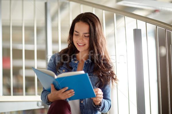 high school student girl reading book at library Stock photo © dolgachov