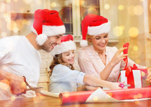 笑みを浮かべて 家族 サンタクロース ヘルパー ギフトボックス ストックフォト © dolgachov