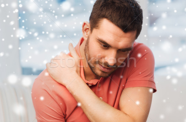 Infeliz homem sofrimento casa pessoas Foto stock © dolgachov