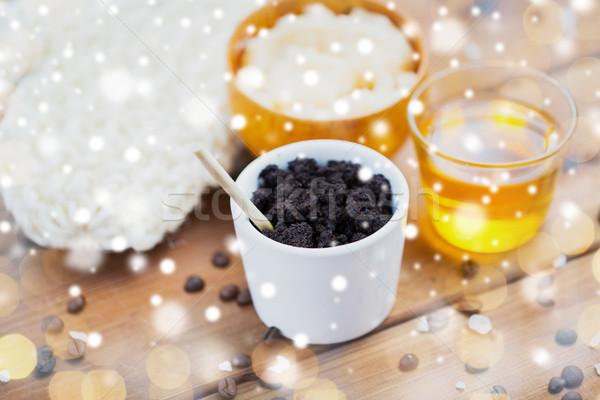 Kávé bozót csésze méz fa szépségszalon Stock fotó © dolgachov