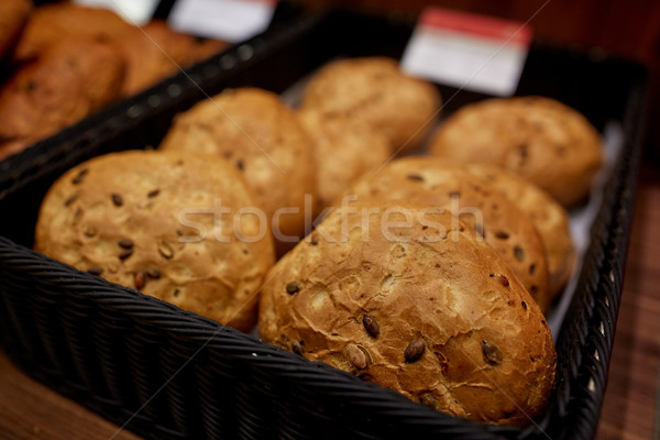 close up of bread at bakery or grocery store Stock photo © dolgachov